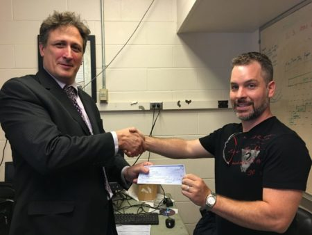 August 1, 2016. Handing check to RPI-CFES
